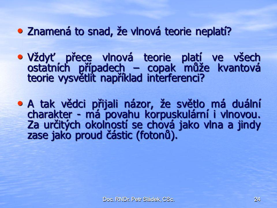 Doc. RNDr. Petr Sládek, CSc.24 Znamená to snad, že vlnová teorie neplatí? Znamená to snad, že vlnová teorie neplatí? Vždyť přece vlnová teorie platí v