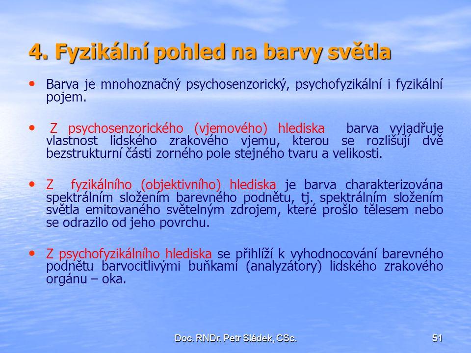 Doc. RNDr. Petr Sládek, CSc.51 4. Fyzikální pohled na barvy světla Barva je mnohoznačný psychosenzorický, psychofyzikální i fyzikální pojem. Z psychos