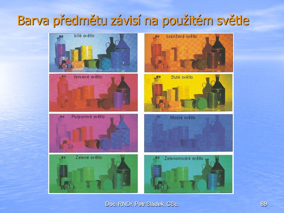Doc. RNDr. Petr Sládek, CSc.69 Barva předmětu závisí na použitém světle