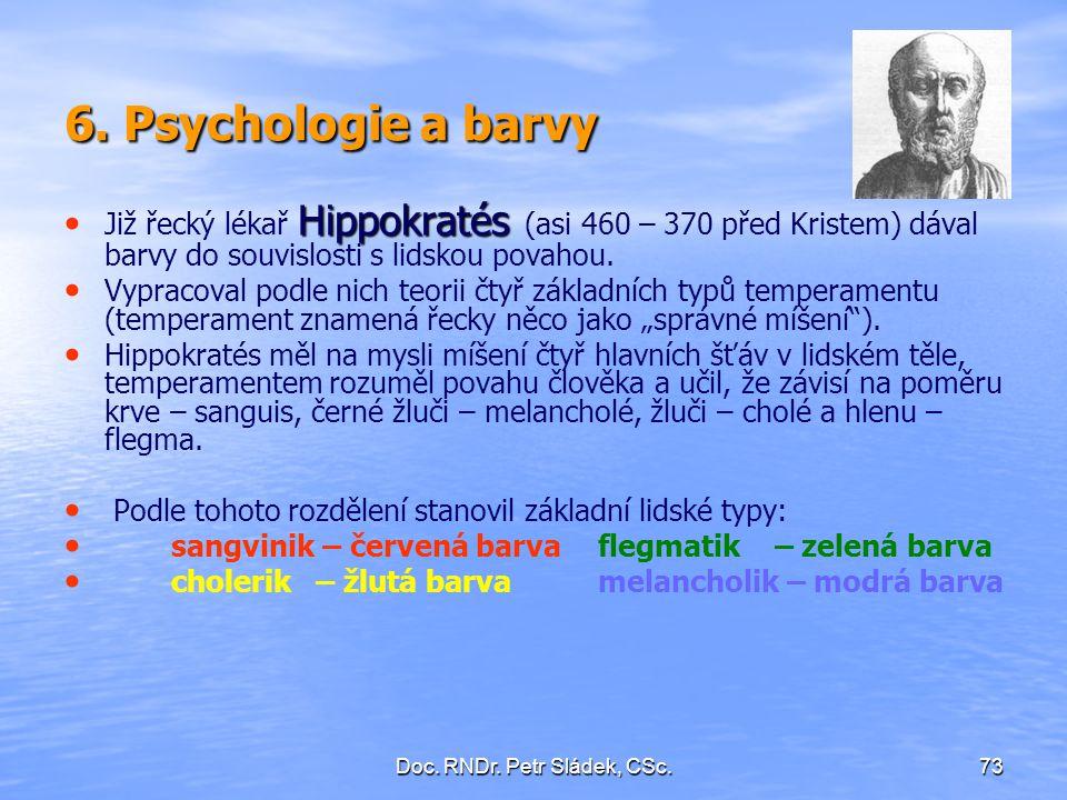 Doc. RNDr. Petr Sládek, CSc.73 6. Psychologie a barvy Hippokratés Již řecký lékař Hippokratés (asi 460 – 370 před Kristem) dával barvy do souvislosti