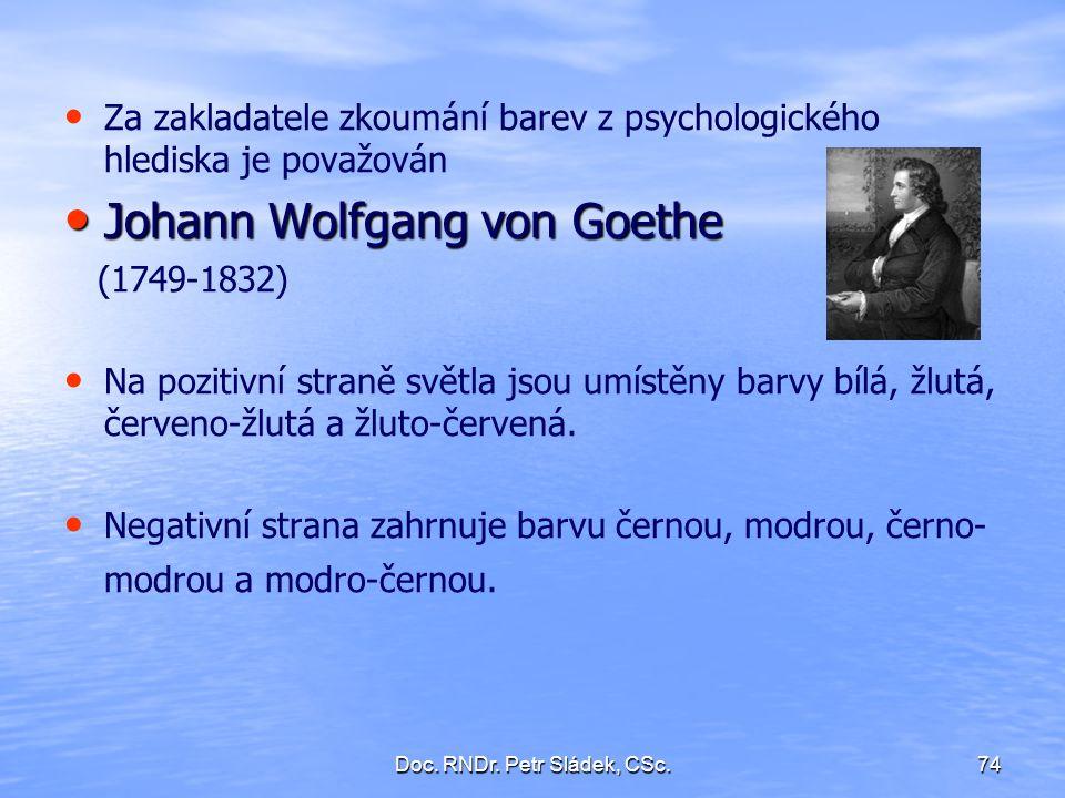 Doc. RNDr. Petr Sládek, CSc.74 Za zakladatele zkoumání barev z psychologického hlediska je považován Johann Wolfgang von Goethe Johann Wolfgang von Go