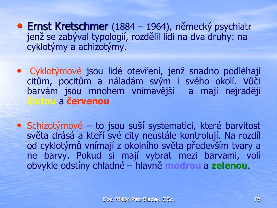 Doc. RNDr. Petr Sládek, CSc.75 Ernst Kretschmer Ernst Kretschmer (1884 – 1964), německý psychiatr jenž se zabýval typologií, rozdělil lidi na dva druh