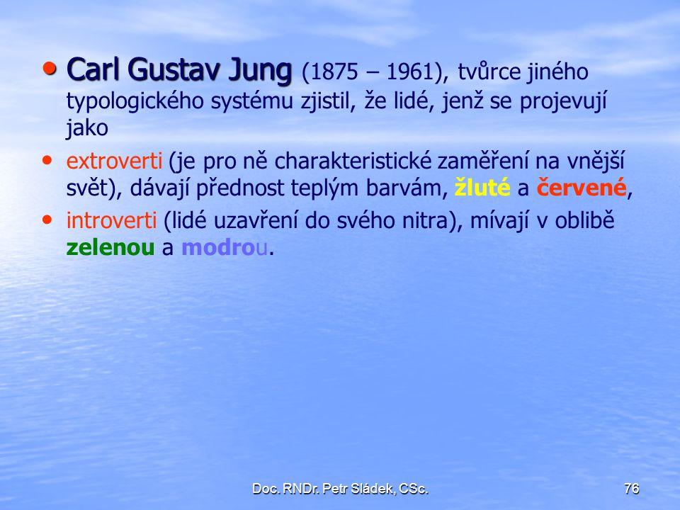 Doc. RNDr. Petr Sládek, CSc.76 Carl Gustav Jung Carl Gustav Jung (1875 – 1961), tvůrce jiného typologického systému zjistil, že lidé, jenž se projevuj