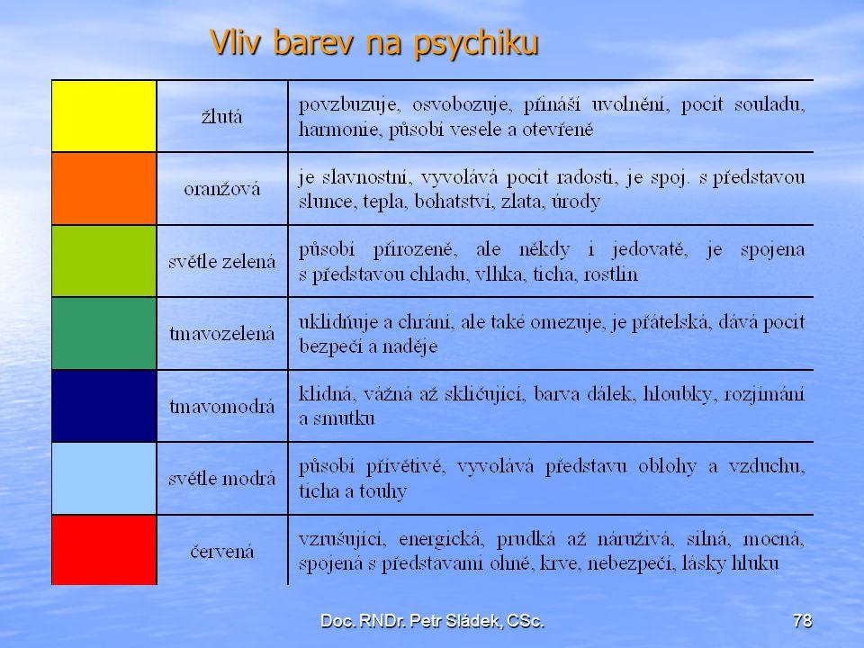 Doc. RNDr. Petr Sládek, CSc.78 Vliv barev na psychiku