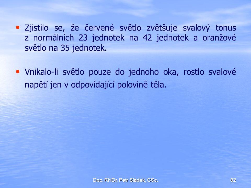 Doc. RNDr. Petr Sládek, CSc.82 Zjistilo se, že červené světlo zvětšuje svalový tonus z normálních 23 jednotek na 42 jednotek a oranžové světlo na 35 j