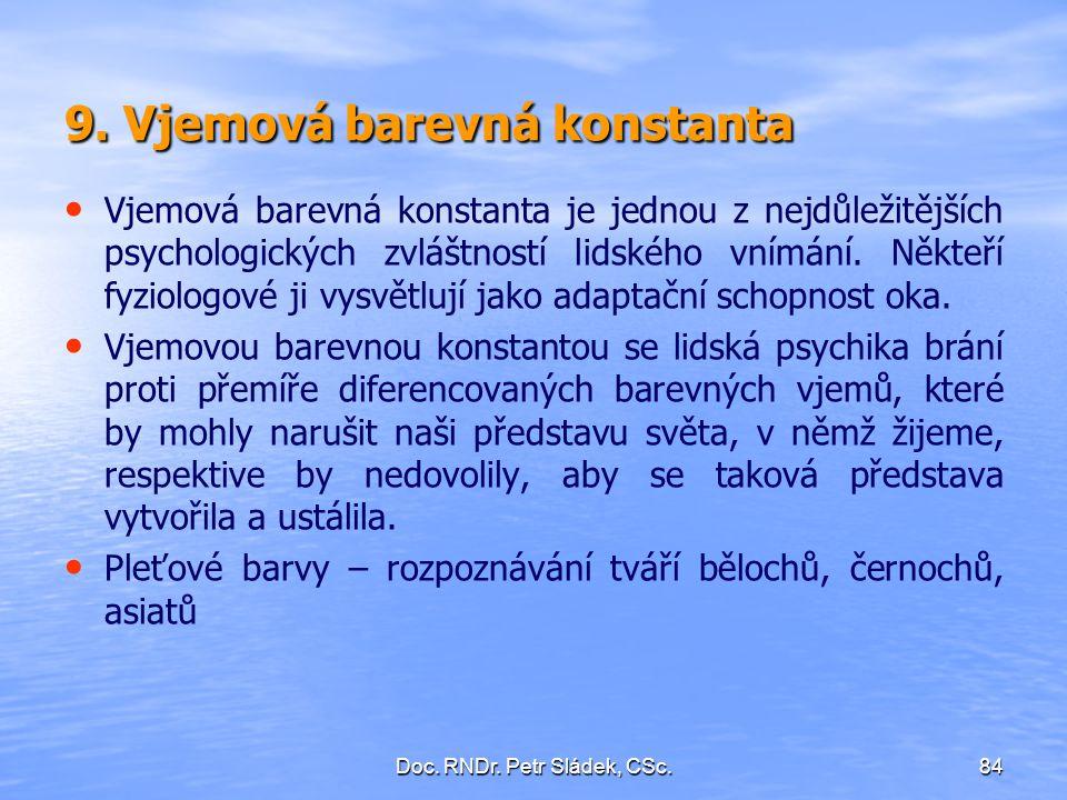 Doc. RNDr. Petr Sládek, CSc.84 9. Vjemová barevná konstanta Vjemová barevná konstanta je jednou z nejdůležitějších psychologických zvláštností lidskéh