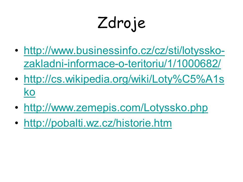 Zdroje http://www.businessinfo.cz/cz/sti/lotyssko- zakladni-informace-o-teritoriu/1/1000682/http://www.businessinfo.cz/cz/sti/lotyssko- zakladni-infor
