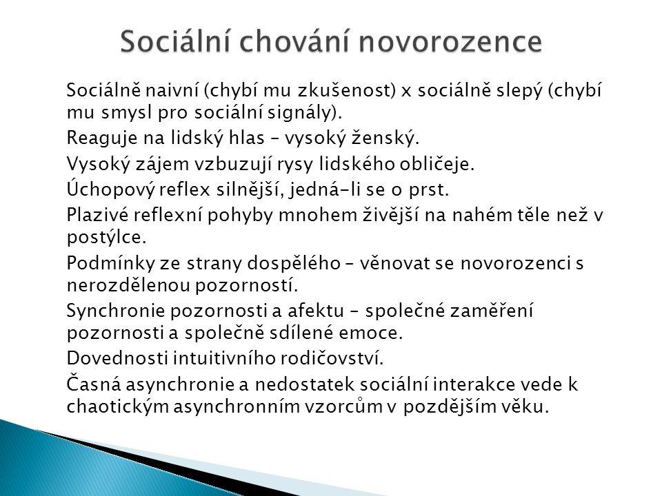 Sociálně naivní (chybí mu zkušenost) x sociálně slepý (chybí mu smysl pro sociální signály). Reaguje na lidský hlas – vysoký ženský. Vysoký zájem vzbu