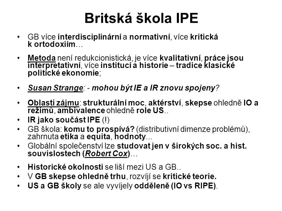 Britská škola IPE GB více interdisciplinární a normativní, více kritická k ortodoxiím… Metoda není redukcionistická, je více kvalitativní, práce jsou