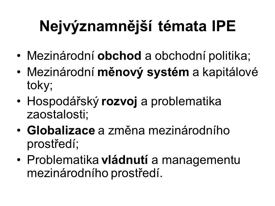Nejvýznamnější témata IPE Mezinárodní obchod a obchodní politika; Mezinárodní měnový systém a kapitálové toky; Hospodářský rozvoj a problematika zaostalosti; Globalizace a změna mezinárodního prostředí; Problematika vládnutí a managementu mezinárodního prostředí.