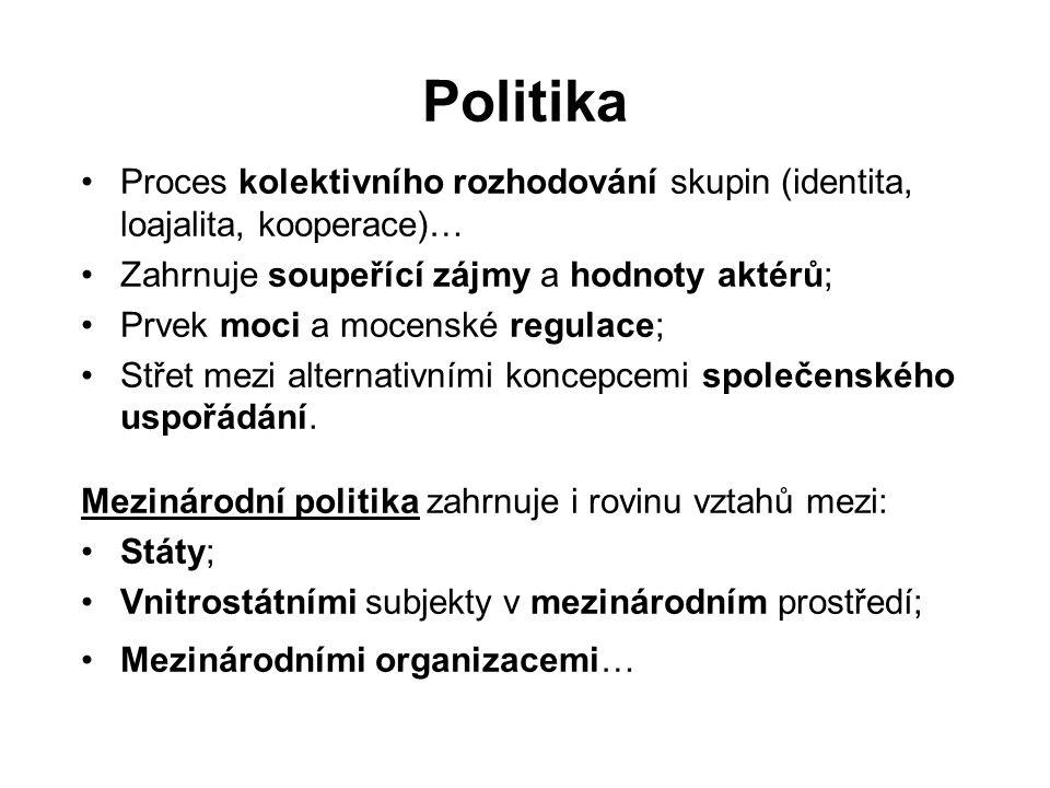 Politika Proces kolektivního rozhodování skupin (identita, loajalita, kooperace)… Zahrnuje soupeřící zájmy a hodnoty aktérů; Prvek moci a mocenské regulace; Střet mezi alternativními koncepcemi společenského uspořádání.