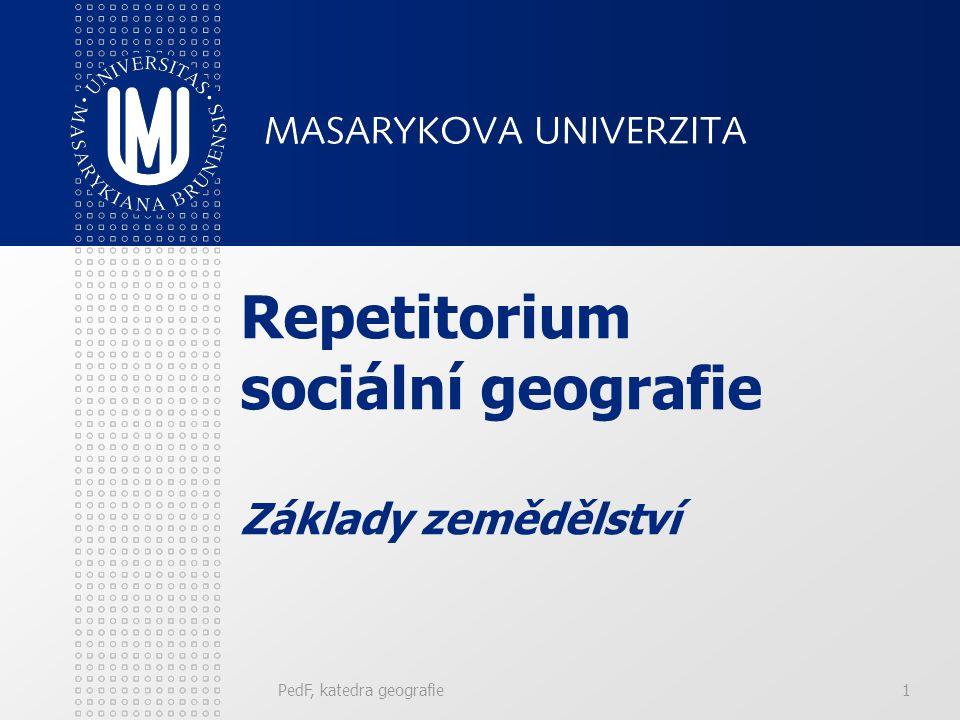 PedF, katedra geografie1 Repetitorium sociální geografie Základy zemědělství