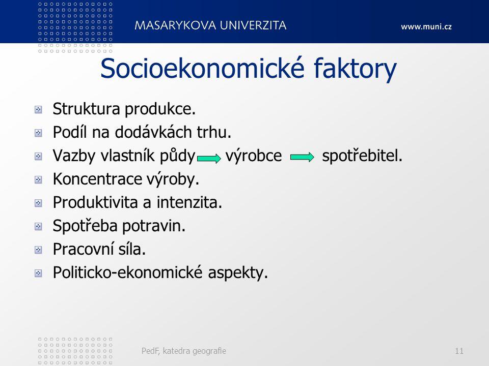 Socioekonomické faktory Struktura produkce.Podíl na dodávkách trhu.