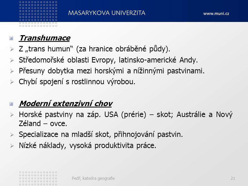 """Transhumace  Z """"trans humun (za hranice obráběné půdy)."""