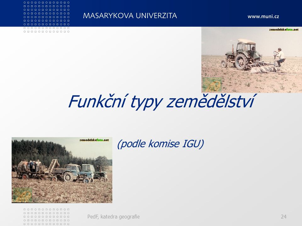Funkční typy zemědělství (podle komise IGU) PedF, katedra geografie24