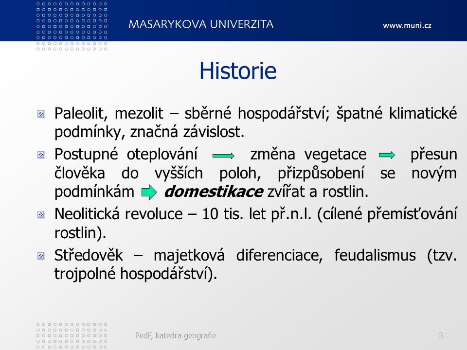 Historie Paleolit, mezolit – sběrné hospodářství; špatné klimatické podmínky, značná závislost.