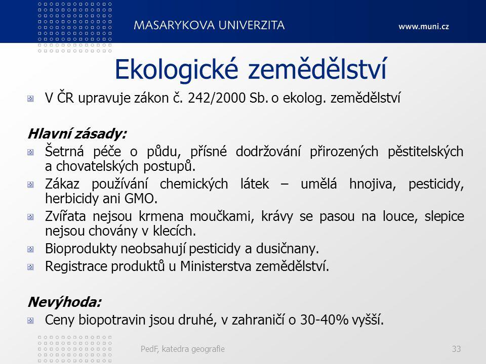 Ekologické zemědělství V ČR upravuje zákon č. 242/2000 Sb. o ekolog. zemědělství Hlavní zásady: Šetrná péče o půdu, přísné dodržování přirozených pěst
