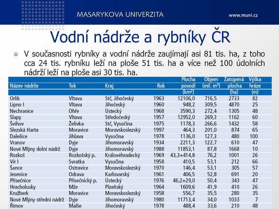 Vodní nádrže a rybníky ČR V současnosti rybníky a vodní nádrže zaujímají asi 81 tis.