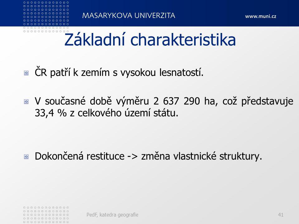 Základní charakteristika ČR patří k zemím s vysokou lesnatostí. V současné době výměru 2 637 290 ha, což představuje 33,4 % z celkového území státu. D