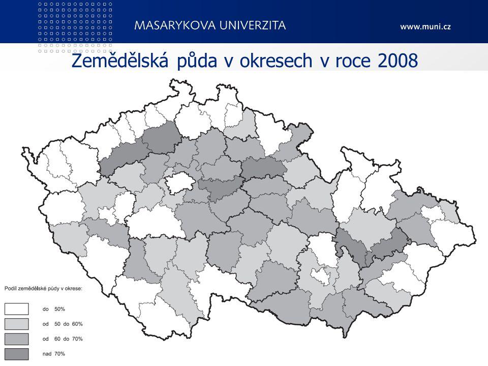 Zemědělská půda v okresech v roce 2008 PedF, katedra geografie7