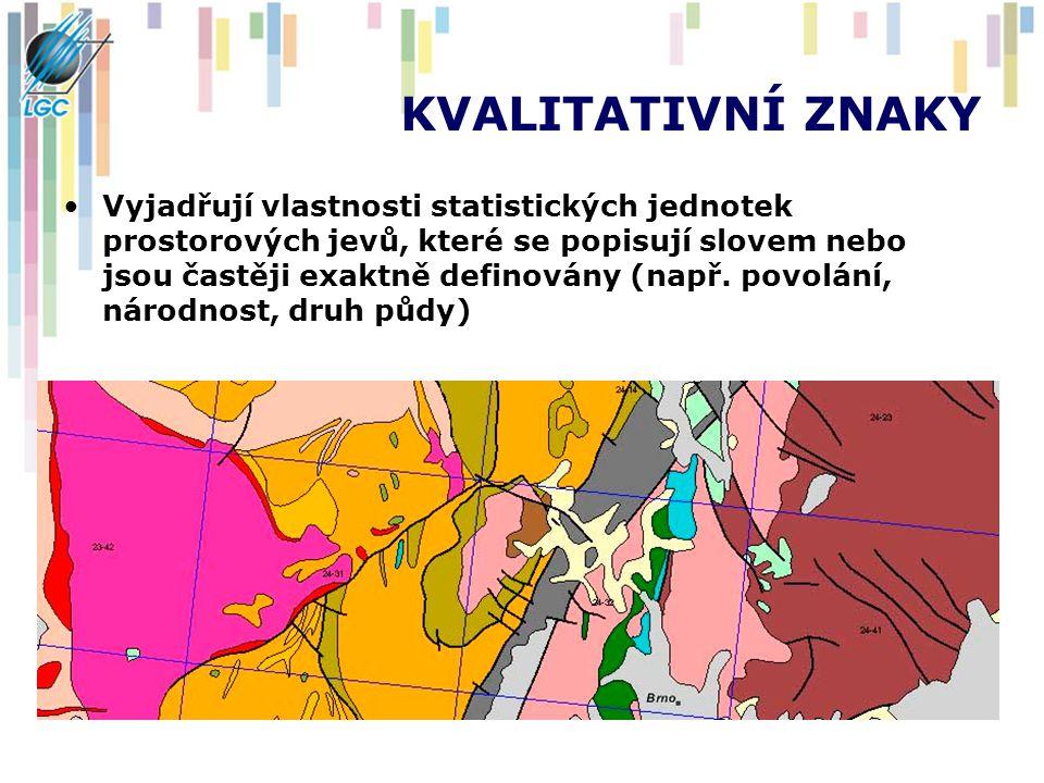 KVALITATIVNÍ ZNAKY Vyjadřují vlastnosti statistických jednotek prostorových jevů, které se popisují slovem nebo jsou častěji exaktně definovány (např.
