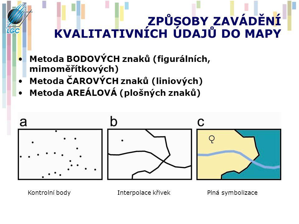 ZPŮSOBY ZAVÁDĚNÍ KVALITATIVNÍCH ÚDAJŮ DO MAPY Metoda BODOVÝCH znaků (figurálních, mimoměřítkových) Metoda ČAROVÝCH znaků (liniových) Metoda AREÁLOVÁ (