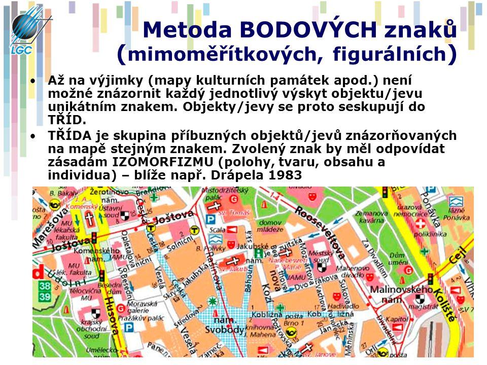 Metoda BODOVÝCH znaků ( mimoměřítkových, figurálních ) Až na výjimky (mapy kulturních památek apod.) není možné znázornit každý jednotlivý výskyt obje