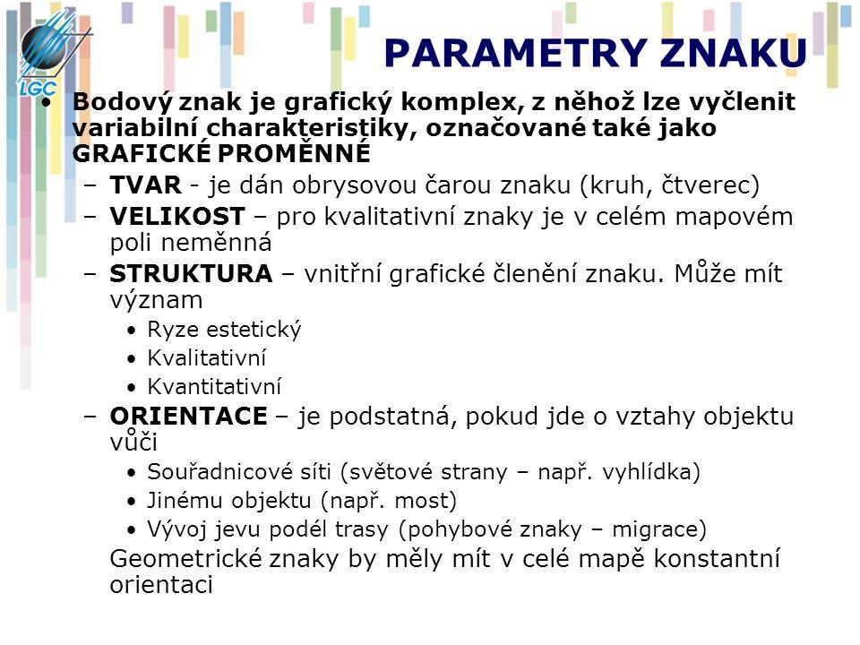 PARAMETRY ZNAKU Bodový znak je grafický komplex, z něhož lze vyčlenit variabilní charakteristiky, označované také jako GRAFICKÉ PROMĚNNÉ –TVAR - je dá