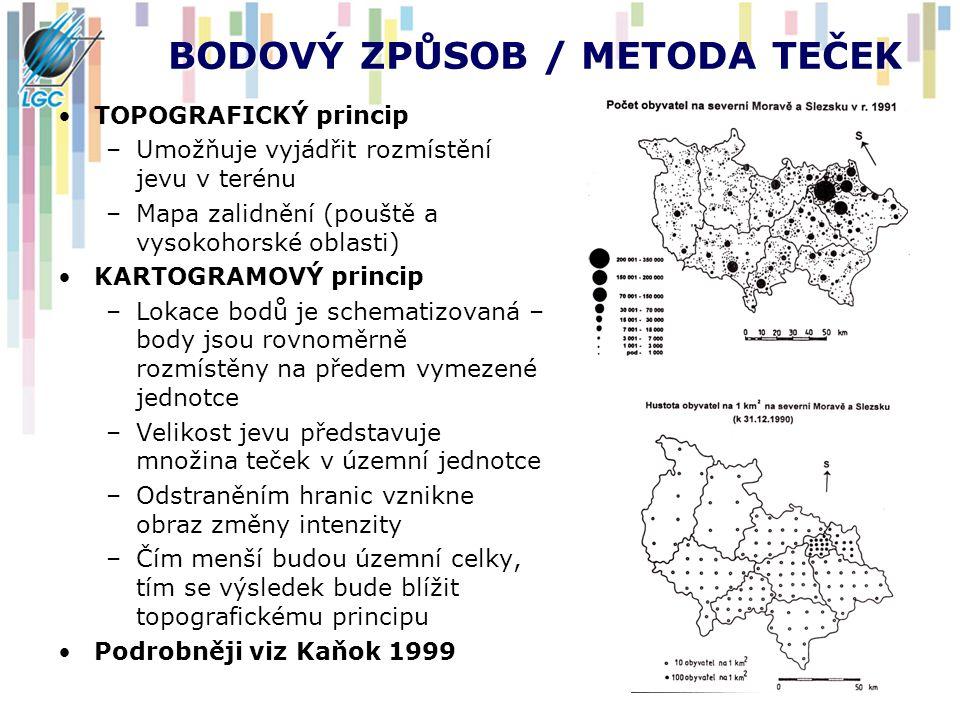 BODOVÝ ZPŮSOB / METODA TEČEK TOPOGRAFICKÝ princip –Umožňuje vyjádřit rozmístění jevu v terénu –Mapa zalidnění (pouště a vysokohorské oblasti) KARTOGRA