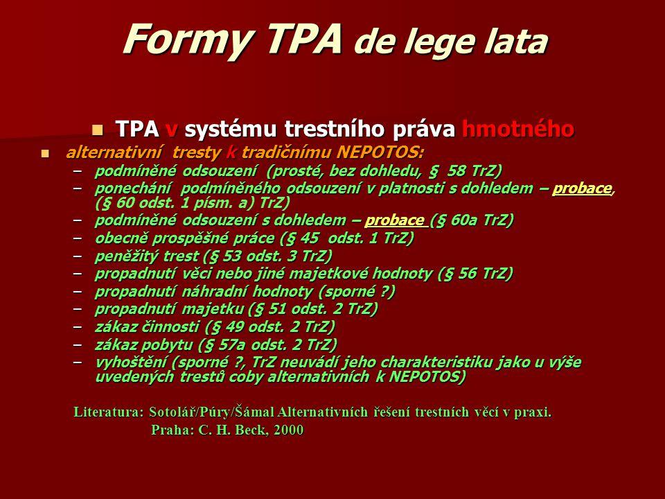 Formy TPA de lege lata TPA v systému trestního práva hmotného TPA v systému trestního práva hmotného alternativní tresty k tradičnímu NEPOTOS: alterna