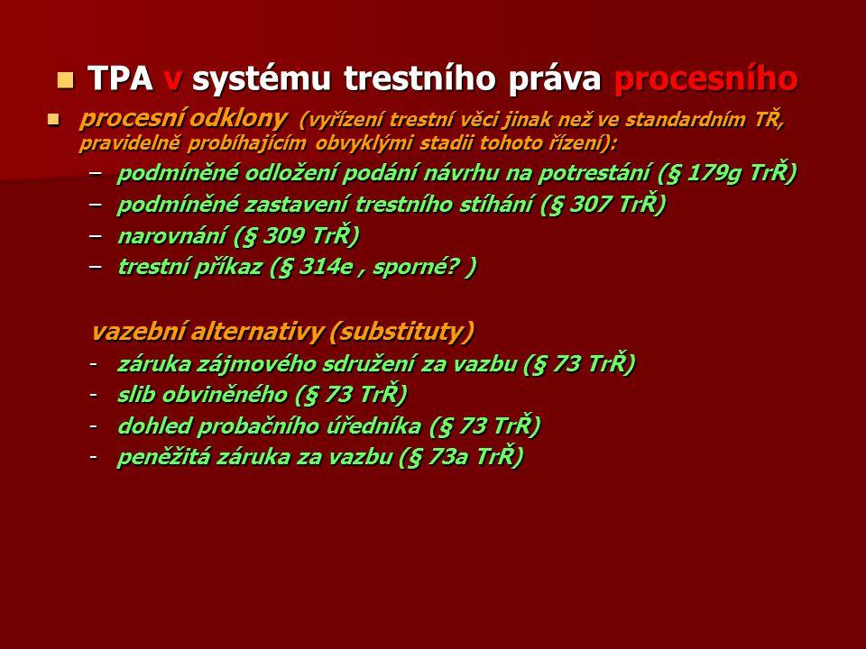 TPA v systému trestního práva procesního TPA v systému trestního práva procesního procesní odklony (vyřízení trestní věci jinak než ve standardním TŘ,