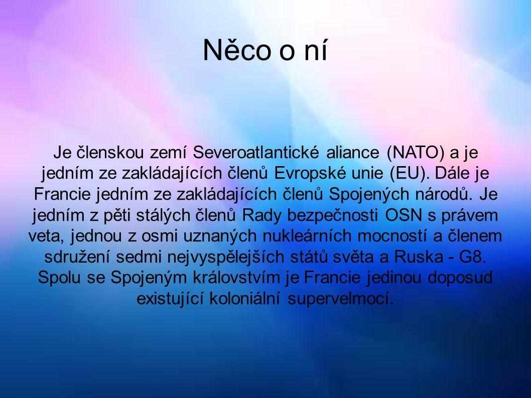 Něco o ní Je členskou zemí Severoatlantické aliance (NATO) a je jedním ze zakládajících členů Evropské unie (EU). Dále je Francie jedním ze zakládajíc