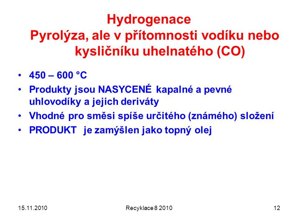 Hydrogenace Pyrolýza, ale v přítomnosti vodíku nebo kysličníku uhelnatého (CO) 450 – 600 °C Produkty jsou NASYCENÉ kapalné a pevné uhlovodíky a jejich