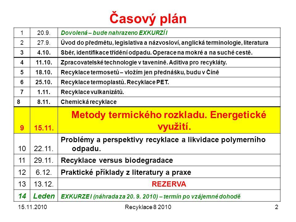 Recyklace 8 20102 Časový plán 120.9.Dovolená – bude nahrazeno EXKURZÍ I 227.9.Úvod do předmětu, legislativa a názvosloví, anglická terminologie, liter