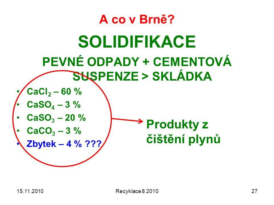 A co v Brně? SOLIDIFIKACE PEVNÉ ODPADY + CEMENTOVÁ SUSPENZE > SKLÁDKA CaCl 2 – 60 % CaSO 4 – 3 % CaSO 3 – 20 % CaCO 3 – 3 % Zbytek – 4 % ??? 15.11.201
