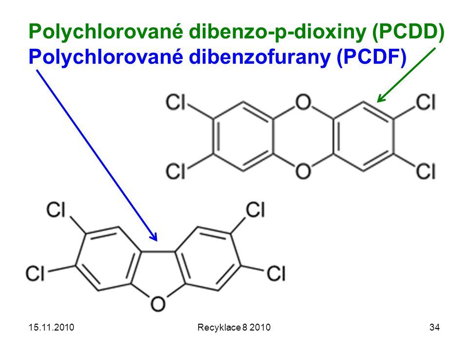 Polychlorované dibenzo-p-dioxiny (PCDD) Polychlorované dibenzofurany (PCDF) 15.11.2010Recyklace 8 201034