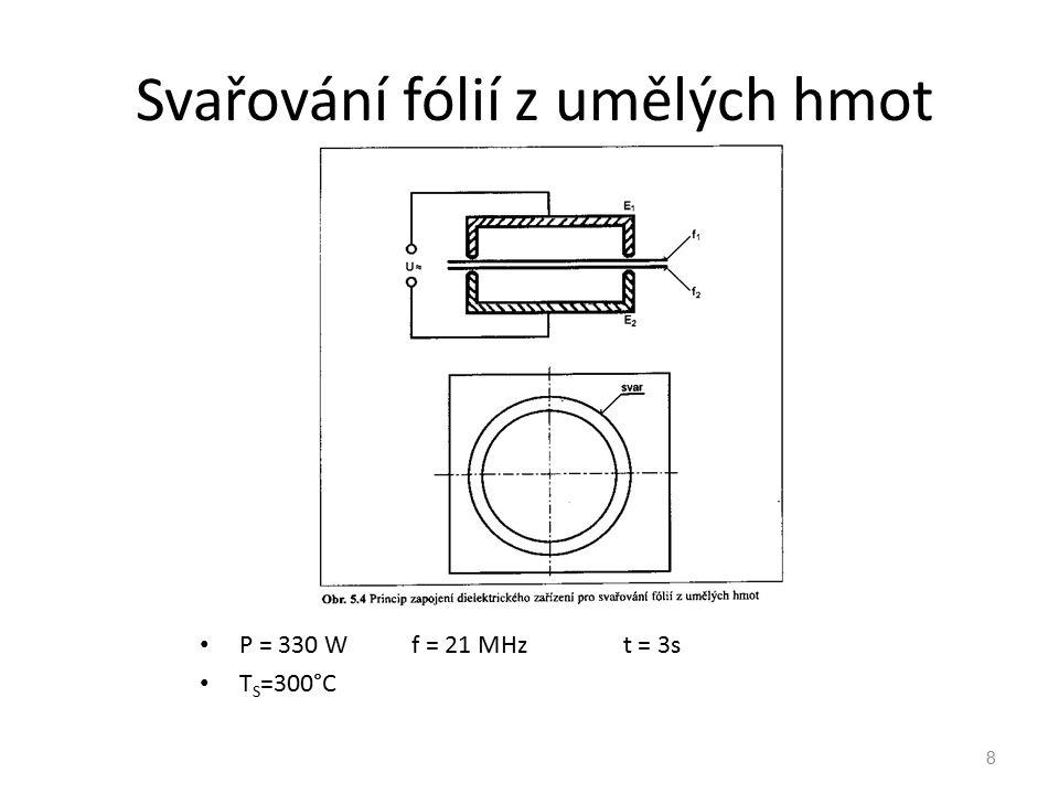 8 Svařování fólií z umělých hmot P = 330 Wf = 21 MHz t = 3s T S =300°C