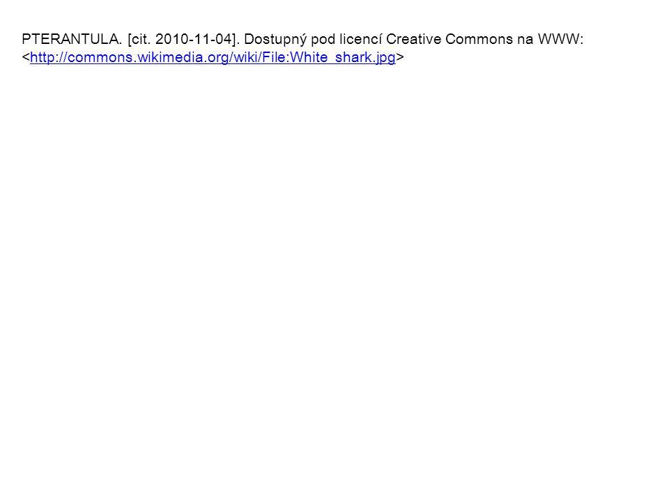 PTERANTULA. [cit. 2010-11-04]. Dostupný pod licencí Creative Commons na WWW: http://commons.wikimedia.org/wiki/File:White_shark.jpg