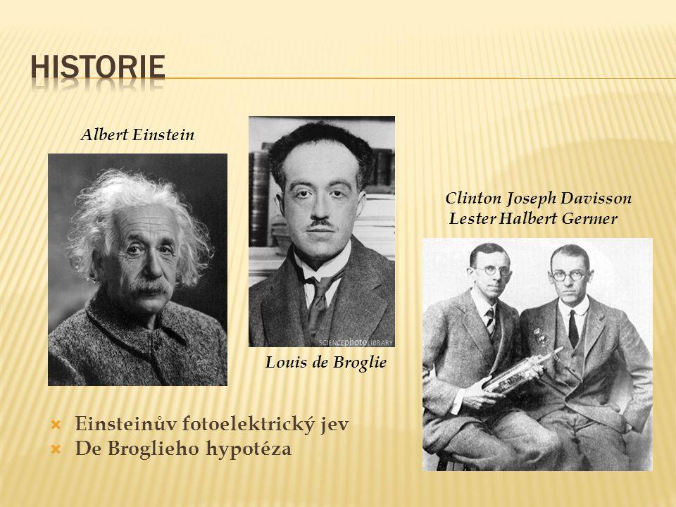 Albert Einstein Clinton Joseph Davisson Lester Halbert Germer Louis de Broglie  Einsteinův fotoelektrický jev  De Broglieho hypotéza