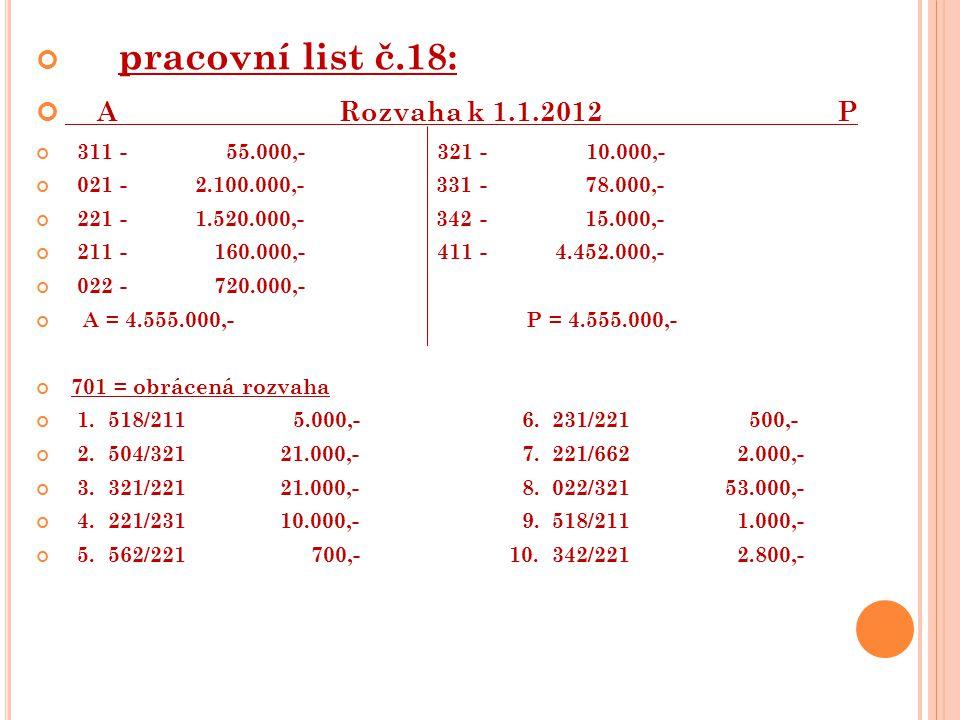pracovní list č.18: A Rozvaha k 1.1.2012 P 311 - 55.000,- 321 - 10.000,- 021 - 2.100.000,- 331 - 78.000,- 221 - 1.520.000,- 342 - 15.000,- 211 - 160.000,- 411 - 4.452.000,- 022 - 720.000,- A = 4.555.000,- P = 4.555.000,- 701 = obrácená rozvaha 1.