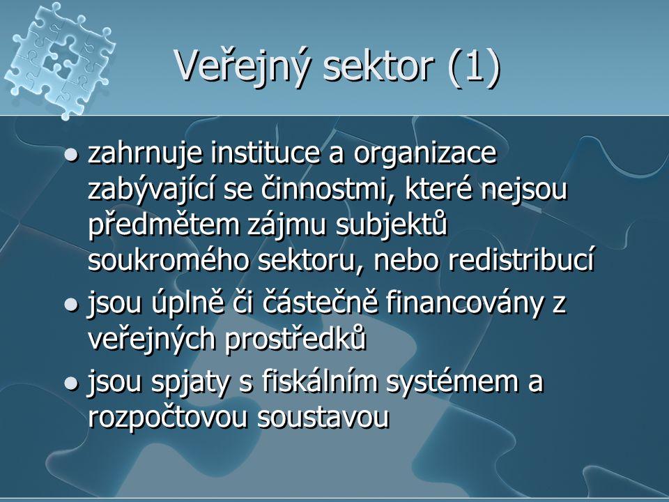 Veřejný sektor (1) zahrnuje instituce a organizace zabývající se činnostmi, které nejsou předmětem zájmu subjektů soukromého sektoru, nebo redistribuc