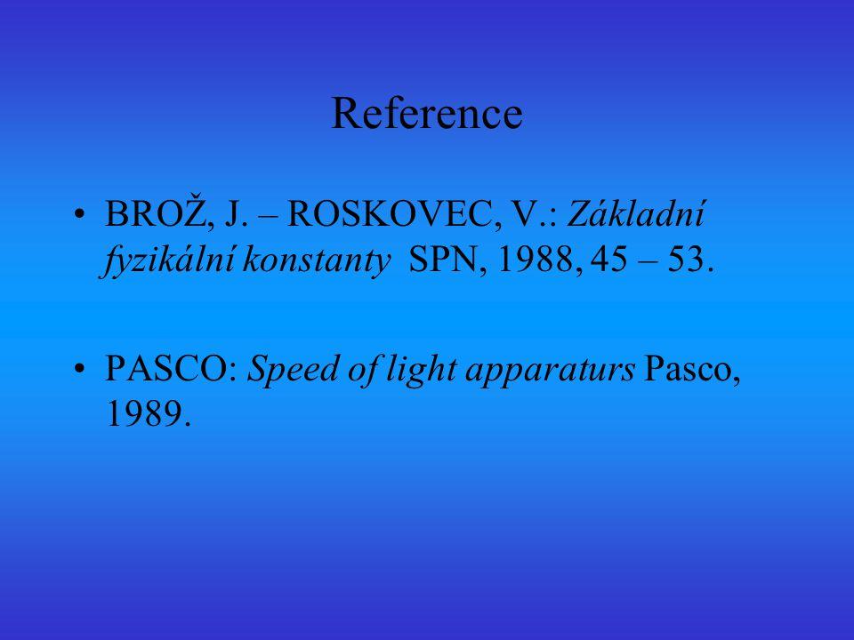 Reference BROŽ, J. – ROSKOVEC, V.: Základní fyzikální konstanty SPN, 1988, 45 – 53. PASCO: Speed of light apparaturs Pasco, 1989.
