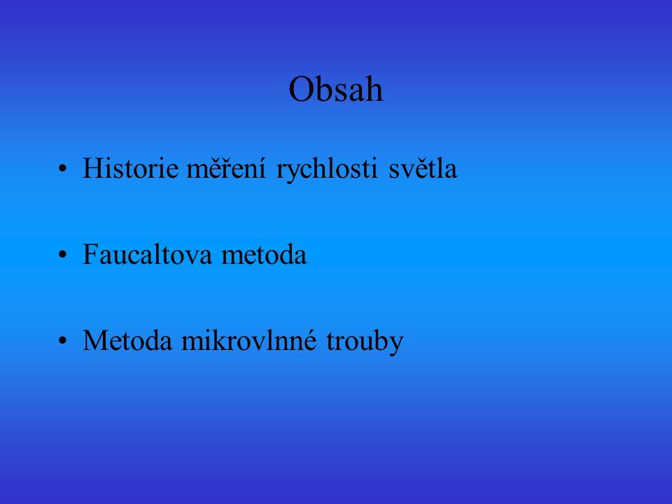 Obsah Historie měření rychlosti světla Faucaltova metoda Metoda mikrovlnné trouby