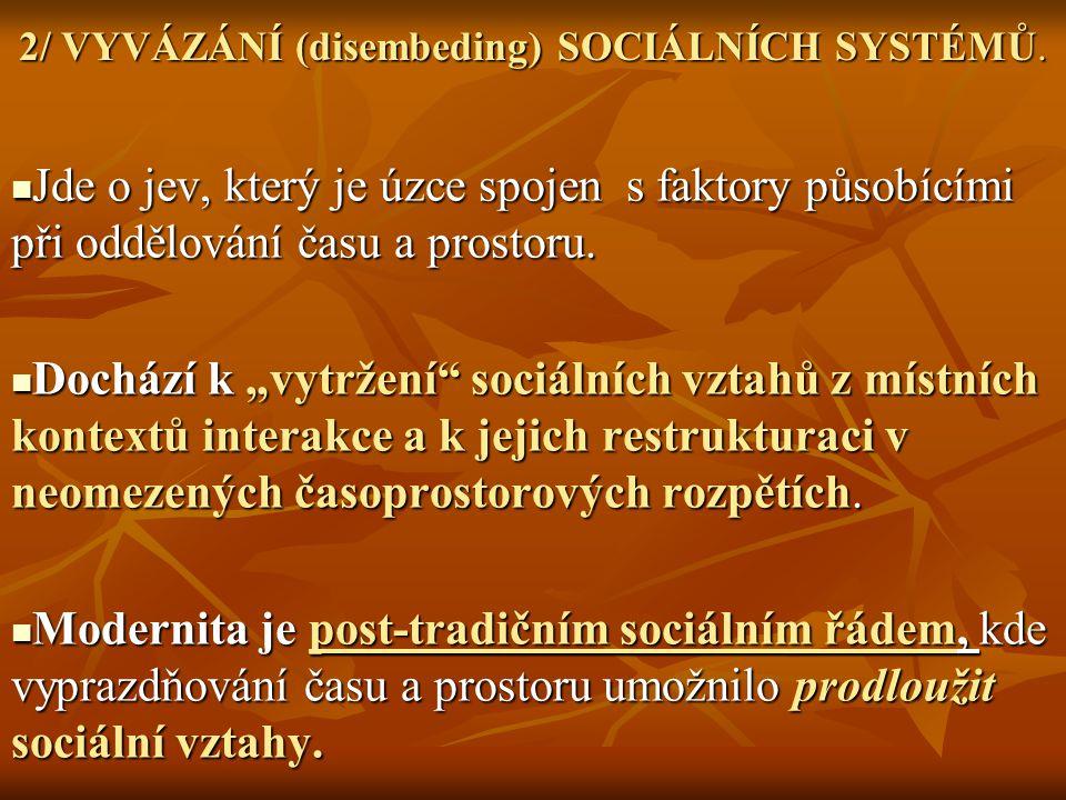 2/ VYVÁZÁNÍ (disembeding) SOCIÁLNÍCH SYSTÉMŮ.