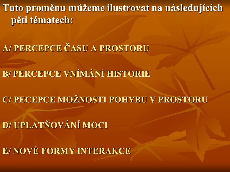 Tuto proměnu můžeme ilustrovat na následujících pěti tématech: A/ PERCEPCE ČASU A PROSTORU B/ PERCEPCE VNÍMÁNÍ HISTORIE C/ PECEPCE MOŽNOSTI POHYBU V PROSTORU D/ UPLATŇOVÁNÍ MOCI E/ NOVÉ FORMY INTERAKCE