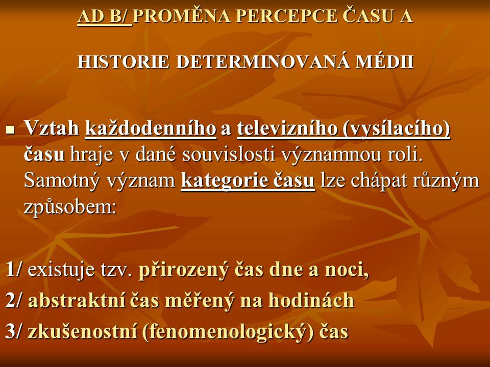 AD B/ PROMĚNA PERCEPCE ČASU A HISTORIE DETERMINOVANÁ MÉDII Vztah každodenního a televizního (vysílacího) času hraje v dané souvislosti významnou roli.