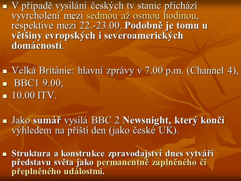 V případě vysílání českých tv stanic přichází vyvrcholení mezi sedmou až osmou hodinou, respektive mezi 22.-23.00. Podobně je tomu u většiny evropskýc