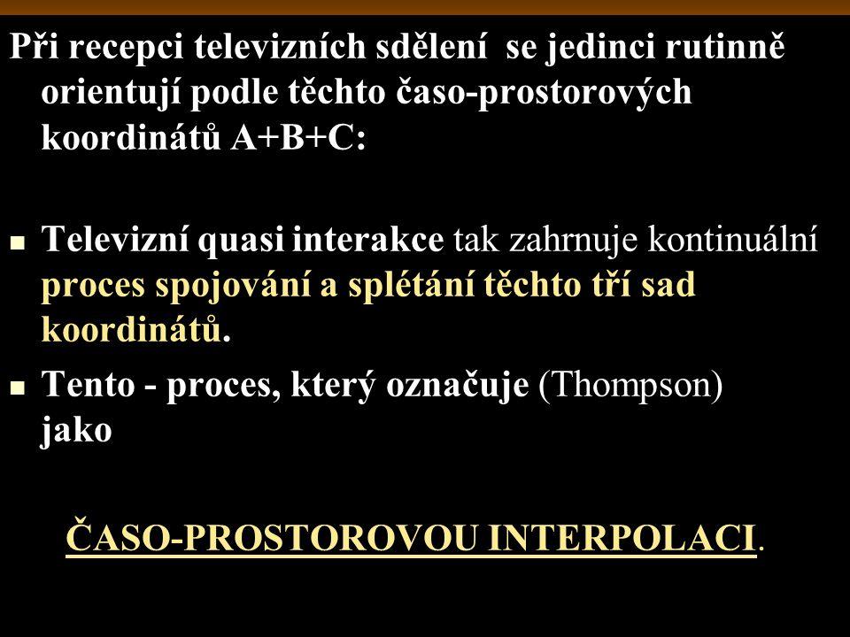 Při recepci televizních sdělení se jedinci rutinně orientují podle těchto časo-prostorových koordinátů A+B+C: Televizní quasi interakce tak zahrnuje k