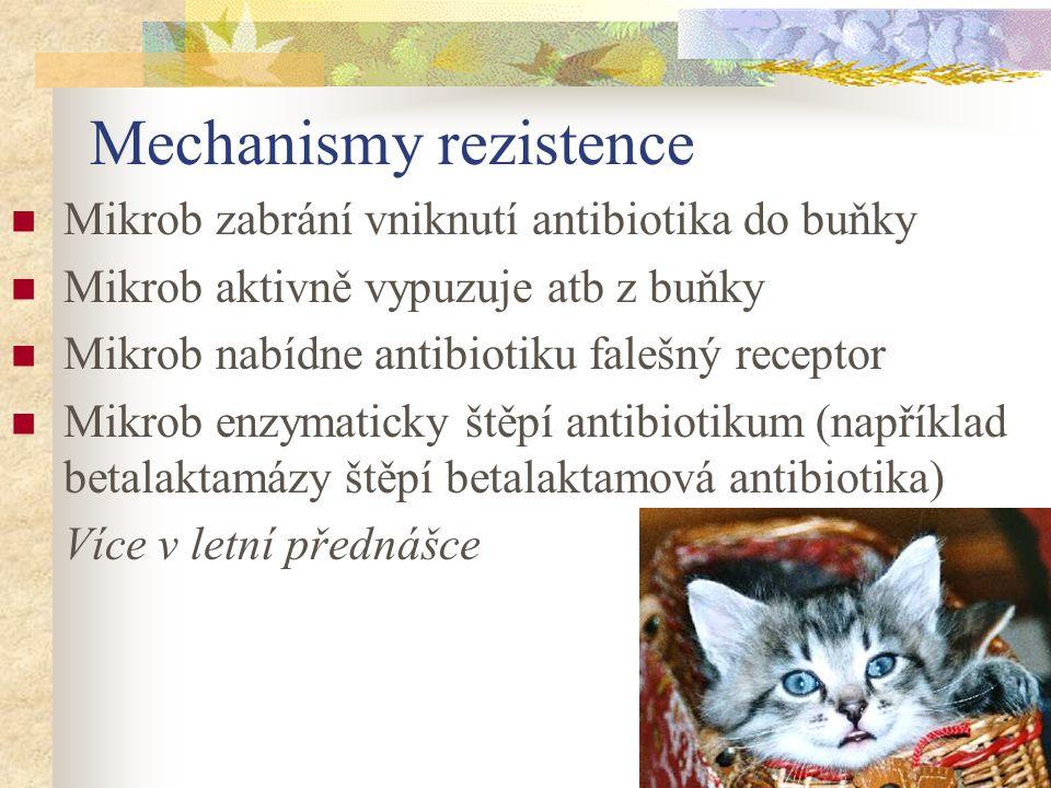 Mechanismy rezistence Mikrob zabrání vniknutí antibiotika do buňky Mikrob aktivně vypuzuje atb z buňky Mikrob nabídne antibiotiku falešný receptor Mik