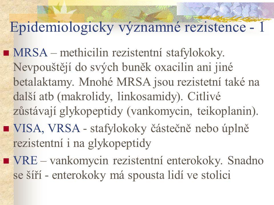 Epidemiologicky významné rezistence - 1 MRSA – methicilin rezistentní stafylokoky. Nevpouštějí do svých buněk oxacilin ani jiné betalaktamy. Mnohé MRS